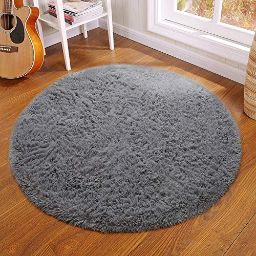 QUANHAO Plüsch Teppich Super weicher Faux Flauschiger Samt Moderne Flauschige Innenteppiche,Lange Haare Fell Optik Gemütliches Bettvorleger Sofa Matte (grau, 140x140cm)