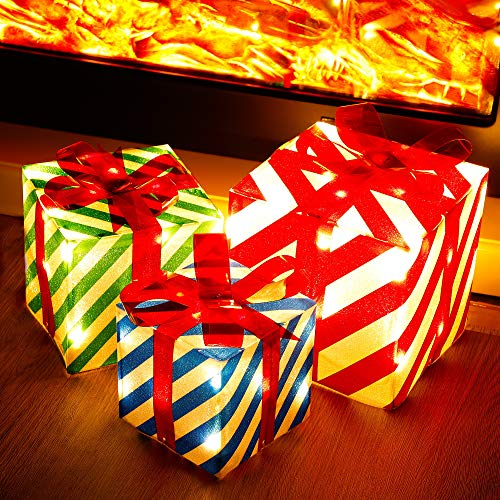 ATDAWN Set of 3 Lighted Gift Boxes Christmas Decorations, Red Green and Blue Stripe Pre-lit Present Boxes, Christmas Home Gift Box Decorations