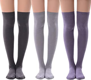 Women's Over Knee High Socks, MEIKAN Fashion Cotton Cosplay Thigh High Socks 3 Pack