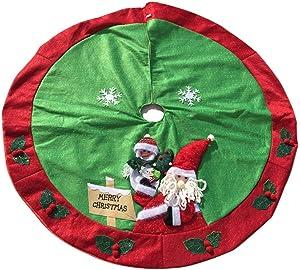 GSYYSZD Sapin de Noël Jupe, Décoration de Noël Père Noël Flocon de Neige Bonhomme de Neige Arbre Mat Base de Couverture fête de Noël Décor Maison Ornement (120cm)