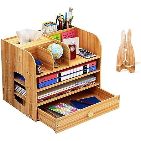 Organiseur de bureau en bois avec porte-stylos, tiroirs de rangement pour bureau, pour maison et école, 32,5 x 26,5 x 22,5 cm couleur naturelle
