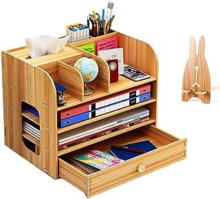 Organiseur de bureau en bois avec porte-stylos, tiroirs de rangement pour bureau, pour maison et école, 32,5 x 26,5 x 22,5...