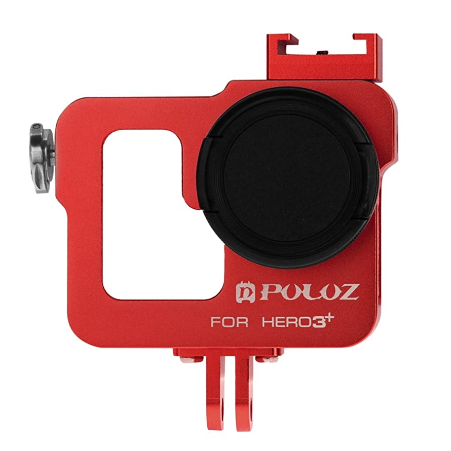 for DJI Gopro Action Camera, Housing Shell CNC Aluminum Alloy Protective Cage with 37mm UV Lens Filter & Lens Cap for GoPro HERO3+ /3(Black) (Color : Red)