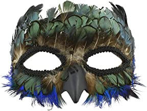 Real Peacock Feather Half Bird Face Eye Mask Masquerade Party Costume Accessory