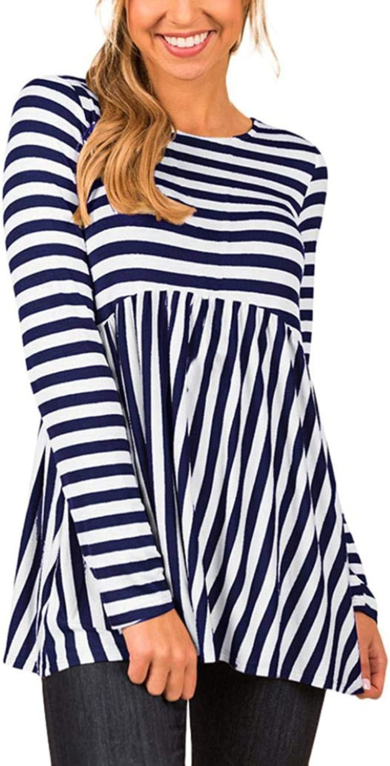 Women Casual Loose Tops Long Sleeve Striped Printing Shirt Tunic Round Neck Blouse (color   Navy, Size   XL)