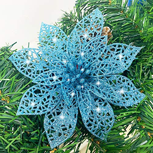 TURNMEON 24 Pack 6 Inch Christmas Glitter Poinsettia Artificial Silk Flowers Picks Christmas Tree Ornaments for Gold Christmas Tree Wreaths Garland Holiday Decoration (Navy)
