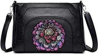 Fashion Women's Bags PU(Polyurethane) Crossbody Bag Embroidery Flower Red/Blushing Pink/Purple Lotus (Color : Purple)