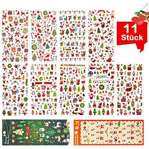 GIANOLUC 11 Stück Weihnachtsstickers, Sticker Weihnachten, Sticker Glitzer, Weihnachten Glitzer, Glitzer Sticker Weihnacht Stickers für Dekoration Scrapbookung Weihnachtsgeschek Verpackung