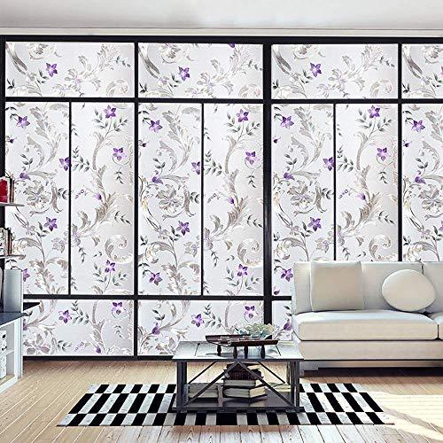 TFOOD raamfolie, matte privacy glassticker, esthetische kunst, violet, patroon, zelfklevend, op keuken badkamer decoratie aanbrengen 60x100cm