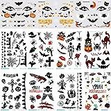 Halloween tatuajes temporales, pegatinas de tatuajes temporales para niños, paquete de regalo de fiesta de truco o trato de Halloween, pegatinas de decoración de Halloween: calabazas, fantasmas