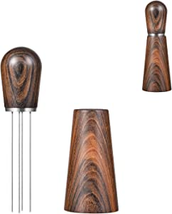 Espresso Coffee Stirrer, Pavant Coffee Stirring Tool for Espresso Distribution, Natural Wood Handle and Stand, Professional Barista Hand Distribution Tool (Sandalwood)