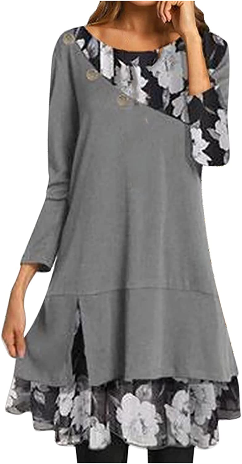 Short Dresses for Teachers Shift Hide Tummy Fashion Loose Floral Round Neck Long Sleeves Polyester
