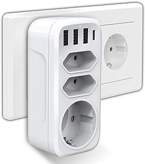 USB Steckdose, Gogotool Steckdosenadapter 7 in 1 Mehrfachsteckdose mit 3 Steckdosen 3 USB Ladegerät 1 Typ-C Port Kompatibel für Phone Laptop Haushaltsgerät, Mehrfachstecker für Hause Reise Büro