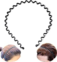 Metal Hair Band-Multifunctional Unisex Wavy Black Metal Hairbands for Men & Women, Fashion Spring Hair Hoop Band, Yoga Headband. Sports Hair Band, Multipurpose Lightweight Stretchable Headwear.