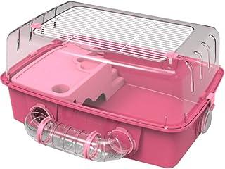 """ペット用ハムスターマウス用60MLウォーターボトルと12cmホイールが付いている大きい生息地ハムスターのおりの家の交差管20""""×14""""×9.5""""(ピンク)"""