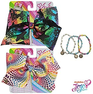 Jojo Siwa Bow for Girls Bundle, 2 Bows and 3 Pack Bracelet - Black and Rainbow