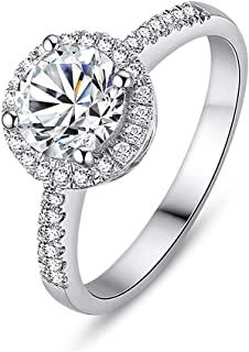 18K White Gold Plated Round Simulated Moissanite Engagement Ring Solitaire Cubic Zirconia Halo Engagement Promise Eternity...