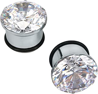 PiercingCool Pair Clear CZ Zirconia Prong Set Ear Plugs Gauges Stainless Steel with Silicone O-Ring Stretcher Expander
