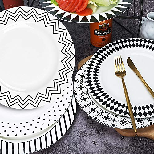AnBnCn 10 Inches Porcelain Dinner Plates, Large Serving Plate Set, 6-Different Motifs Assorted Black&White Patterns, Set of 6