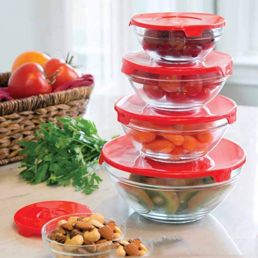 Envases de vidrio con tapa, Apto para lavavajillas, microondas y congelador, 10 piezas, contenedor de almacenamiento de alimentos