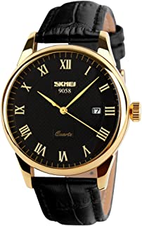 Business Men's Quartz Wristwatches Roman Numeral Leather Band Casual Water Resist Analog Watches