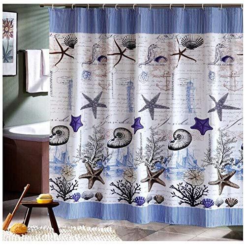 Duschvorhang, 240 x 200 cm (Breite x Höhe), Ozean Stern Design, Polyester, Shower Curtain wasserdicht, schimmelresistent