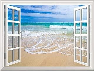 wall26 Removable Wall Sticker/Wall Mural - Beautiful Blue Caribbean Sea Beach   Creative Window View Home Decor/Wall Decor - 36