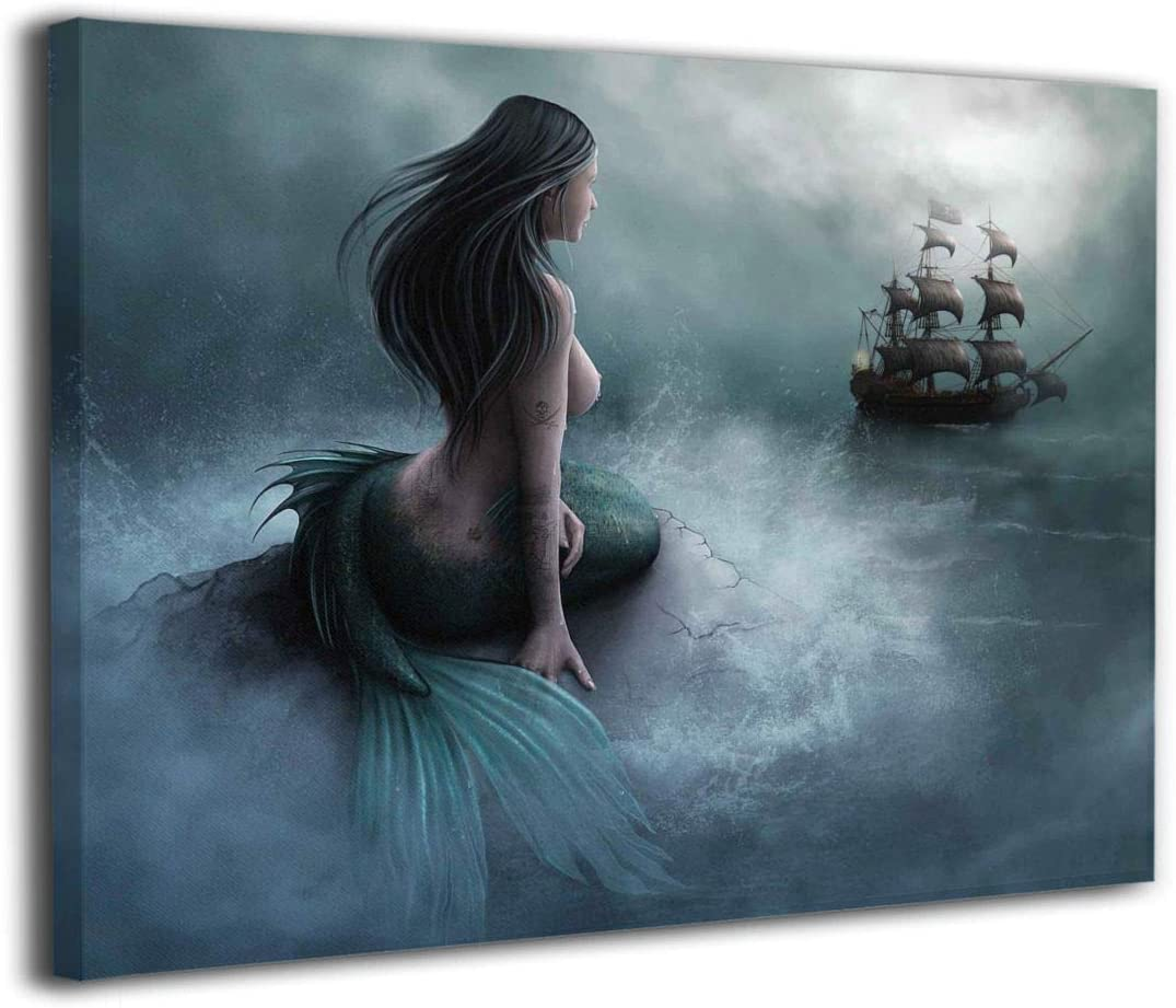 Funny Gift Home Art Wall Decor Mermaid Fantasy Oil Painting Printed on canvas