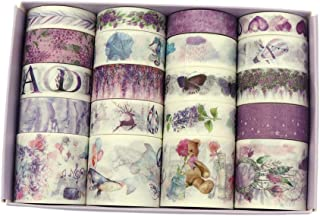 20 Rolls Fantasy Purple Washi Tape, Weather Butterfly Alphabet Kawaii Cake Marine Animals Washi Masking Tape Set for Scrapbooking, Bullet Journal, Planner, Gift Wrapping, Holiday Decoration