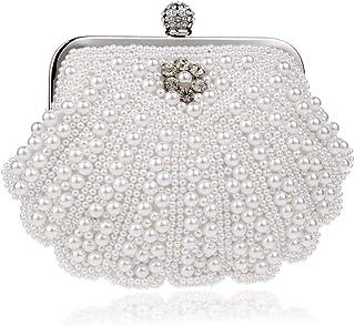 HMNS Damen Perlen Clutch Abend Handtasche Braut Party Damen Abendtasche Clutch Hochzeitstaschen Mini Tasche