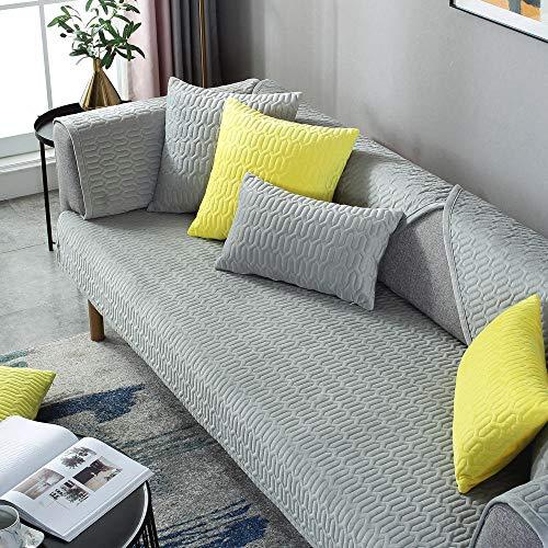 Corner Sofa Slipcover,Living Room Fabric Sofa Seat Covers,Furniture Protector Cover,for 1/2/3/4/5 Seater Sofa,Alfombrilla de sofá de Terciopelo Acolchado Pure Color-Gris_110×160cm