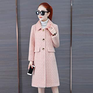 Winter Clothing for Women Waterproof Cashmere Coat Women Double-Sided Wool Coat Medium Long Jacket Autumn and Winter Warm Jacket Button Ladies Coat (Color : Pink, Size : L)