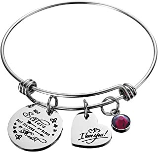 Not Sisters by Blood But Sisters by Heart Birthstone Charm Bracelet Friendship Gift I Love You Sister Cuff Friend Jewelry