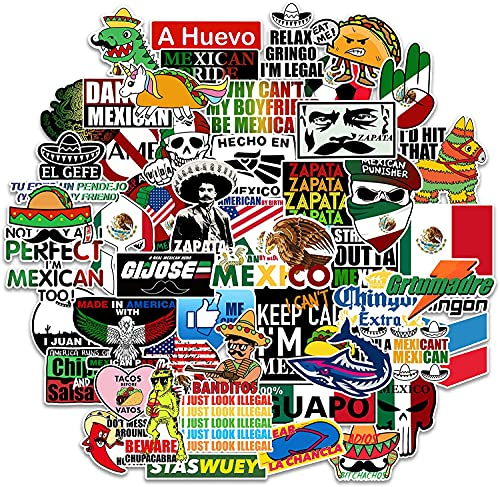 Mexican Hard Hat Stickers [50pcs] Mexico Pride - Funny Vinyl Sticker for Tool Box Hardhat Helmet Hood Bumper Laptop Water Bottle, Patriotic Decals for Adults Essential Construction Workers