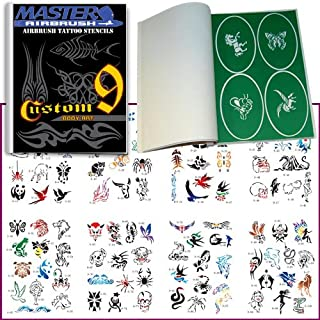 Master Airbrush Brand Airbrush Tattoo Stencils Set Book #9 Reuseable Tattoo Template Set, Book Contains 100 Unique Stencil Designs, All Patterns Come on Vinyl Sheets with a Self Adhesive Backing.