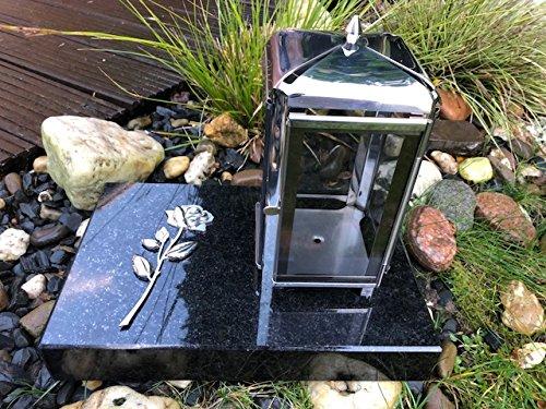 Or Grablaterne und Rose aus Edelstahl inklusive Granitsockel 20cm x 30cm x 5cm Schwarz Lampe mit Sockel und 3D Rose