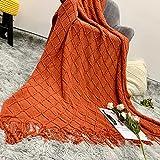 Kissnite Kuscheldecke Weich Strick Wolldecke Microfaserdecke Schlafdecke Wohndecke Tagesdecke Quaste Decke Sofadecke(127x175cm,Ziegelrot)