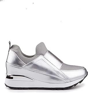 Baldi Women's Unamuno U Black/Red/Silver Sneakers Casual Sport Slip on Sneakers mid Platform wear with Jeans Dress Skirt Outdoor Office