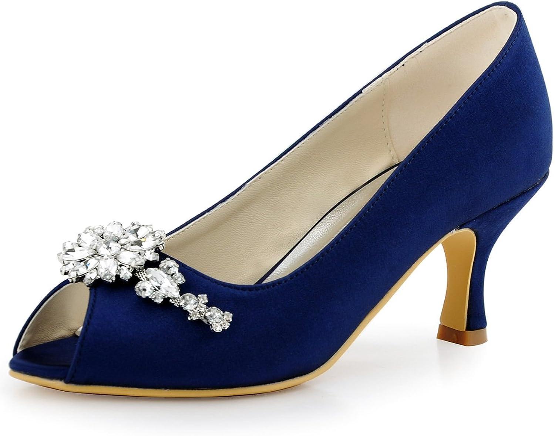 Elegantpark HP1541 Women Pumps Peep Toe Mid Heel Rhinestones Satin Wedding Bridal shoes
