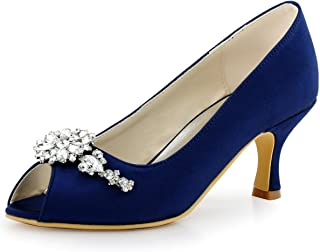 HP1541 Women Pumps Mid Heel Peep Toe Flower Rhinestones Satin Evening Prom Wedding Shoes