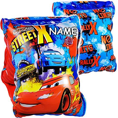 alles-meine.de GmbH 2* 2 TLG. Set _ Schwimmflügel / Schwimmärmel - aufblasbar -  Disney Cars - Auto  - inkl. Name - 2 bis 6 Jahre - jeweils 2 Luftkammern ! - Schwimmhilfe - für..