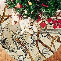 ツリースカート クリスマスツリースカート 馬 きれい 復古 ホリデーデコレーション メリイクリスマス飾り 下敷物 可愛い 雰囲気 クリスマスパーティー 直径107cm