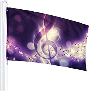 HuaFloralBoom Durable & Fade Resistant 3x5 Foot Music Note Flag- Yard Holiday and Seasonal Garden Flag Set for Outdoors Decorations Tailgating Party College Sports Fan