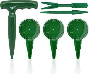 6 Pack Seed Dispenser Sower Adjustable Garden Hand Held Grass Seeds Planter Seeder Seedlings Dibber and Widger Gardening Tool