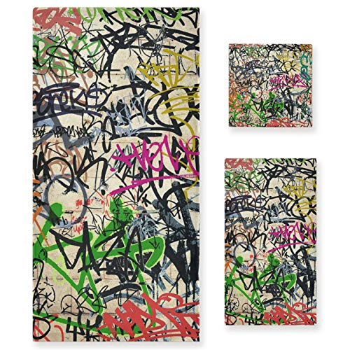 Juego de Toallas de baño de Lujo de algodón de 3 Piezas para Mujeres, Hombres, baño, Cocina, 1 Toalla de baño, 1 Toalla de Mano, 1 toallitas, Hay Muchos graffitis en la Pared