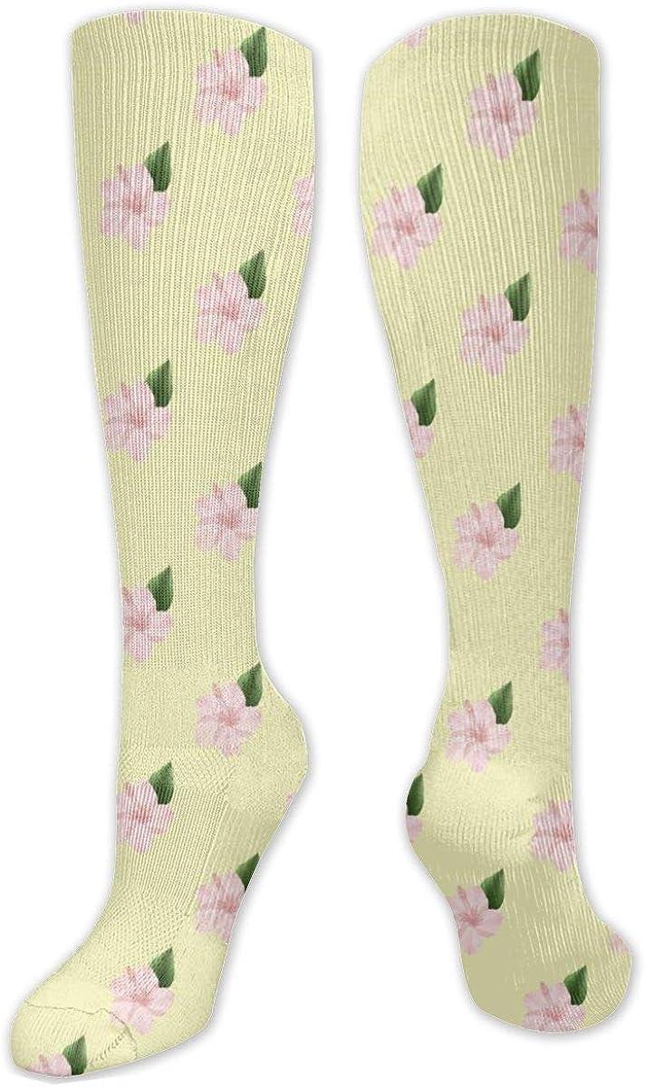 Yellow Flower Knee High Socks Leg Warmer Dresses Long Boot Stockings For Womens Cosplay Daily Wear