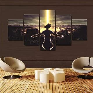 QJXX Prints On Canvas Modern Home Wall Decor Goku Sunrise 5 Pieces Cartoon Dragon Ball Z Canvases Print Picture Art HD Painting Artworks,A,30×40Cm×2+30×60Cm×2+30×80Cm×1