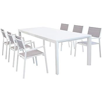 XONE Set White in Alluminio 1 Tavolo Estensibile (150210x90cm) + 6 sedie impilabili con braccioli | Top di Gamma