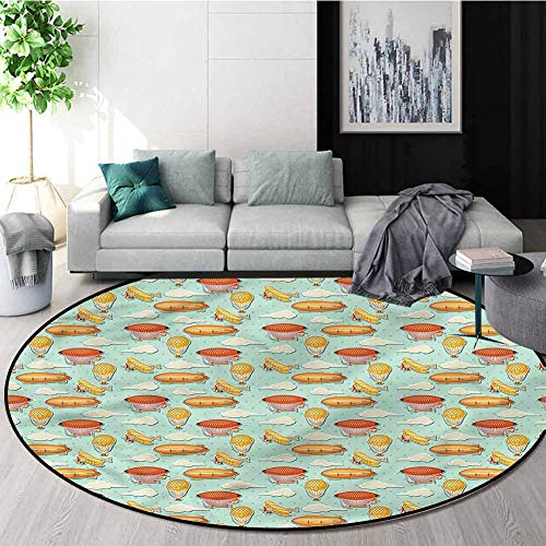 Buy RUGSMAT Zeppelin Modern Flannel Microfiber Non-Slip Machine Round Area Rug,Polka Dots Background...