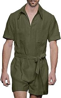 babao Men Short Sleeve Overalls Onesies One Piece Romper Jumpsuit with Belts